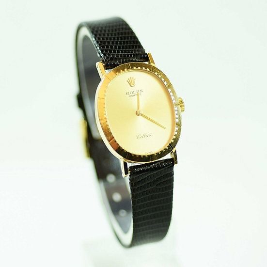 Rolex ♛ Cellini 4047 Black Leather Band, Solid 18k Yellow Gold