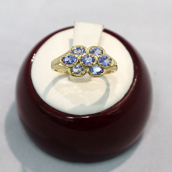 Art Deco Floral Tanzanite Gemstone Yellow Gold Ring