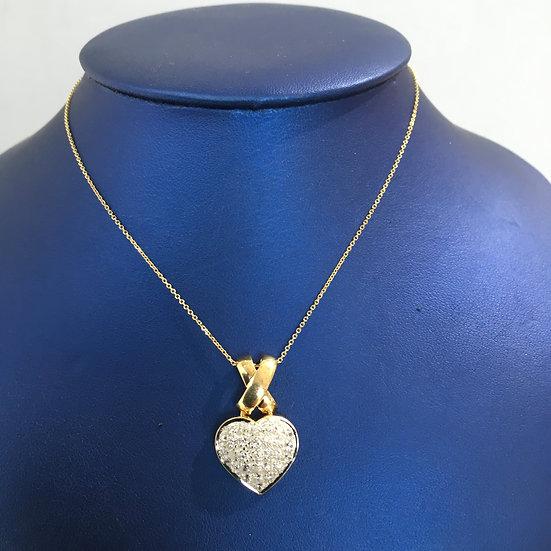 Yellow Gold Heart Pendant w/ Pavé Set Diamonds (COMES W/ FREE YG BOX CHAIN!)