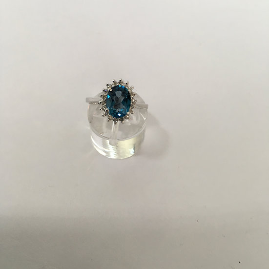 London Blue Topaz w/ Halo Style Diamonds 14k White Gold Gemstone Ring
