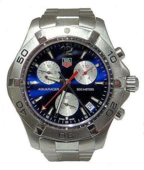 TAG Heuer Aquaracer CAF1112 Chronograph Men's 42mm Blue Face Steel Quartz Watch