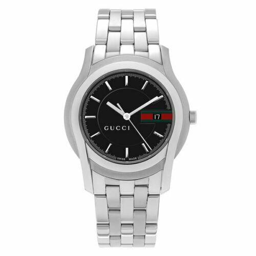 Gucci 5500 XL Stainless Steel Black Gucci Logo Dial Quartz Men's Watch