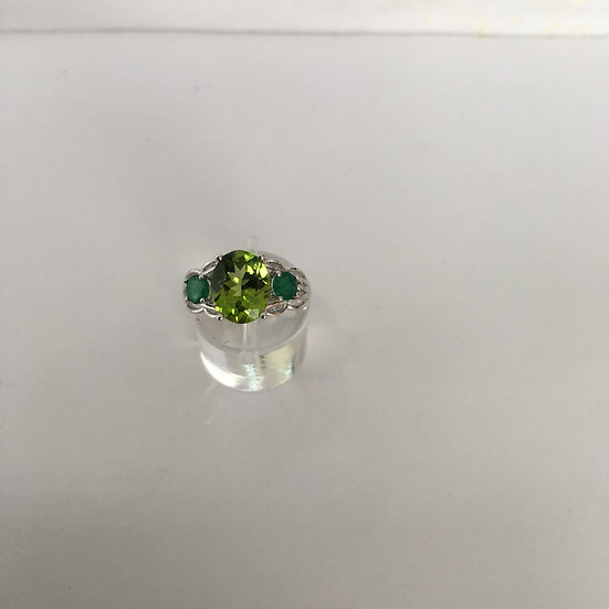 White Gold Gemstone Ring w/ Center Oval Peridot & Two Round Emeralds