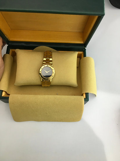Gucci Ladies 18k Yellow Gold Plated Black Face Watch