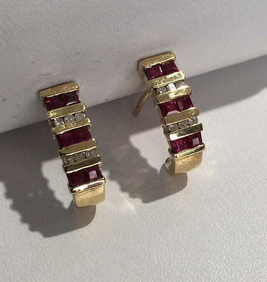 Princess Cut Rubies w/ Diamonds Curved Yellow Gold Gemstone Earrings