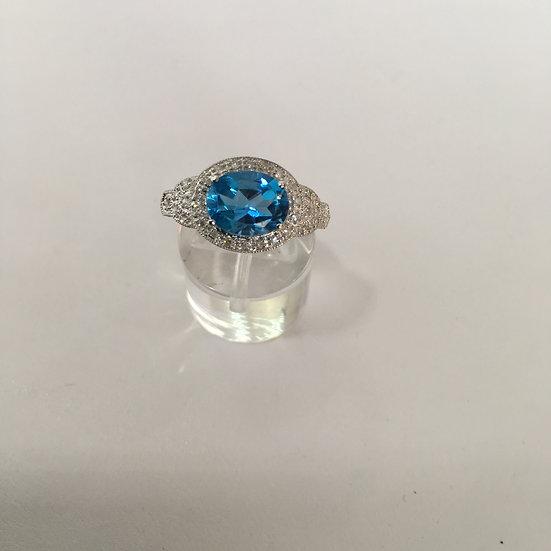 Halo Style London Blue Topaz Surrounded w Diamonds 14k White Gold Gemstone Ring
