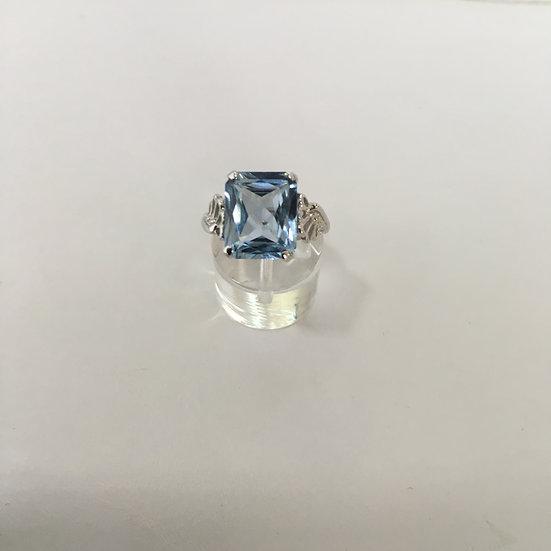 Emerald Cut Swiss Topaz Set in Fan Design White Gold Gemstone Ring