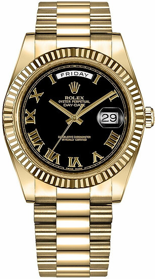 Rolex ♛ Presidential Day-Date II 218238 Black Dial w/ Roman Numerals 18k Gold