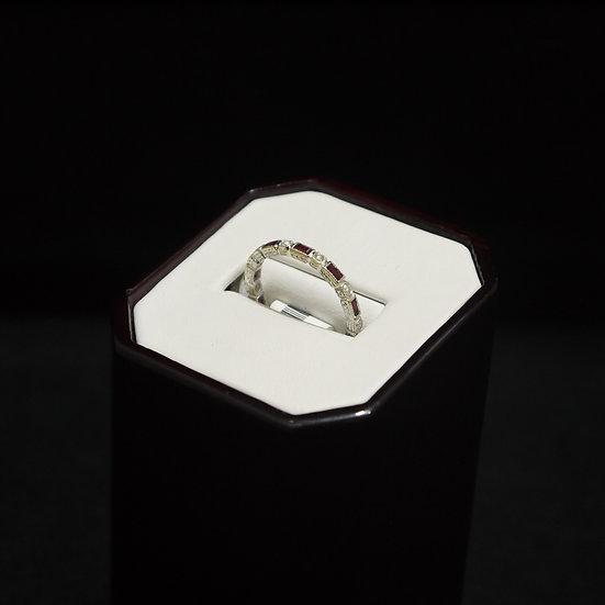 18k White Gold Filigree Design Eternity Band w/ Rubies & Diamonds