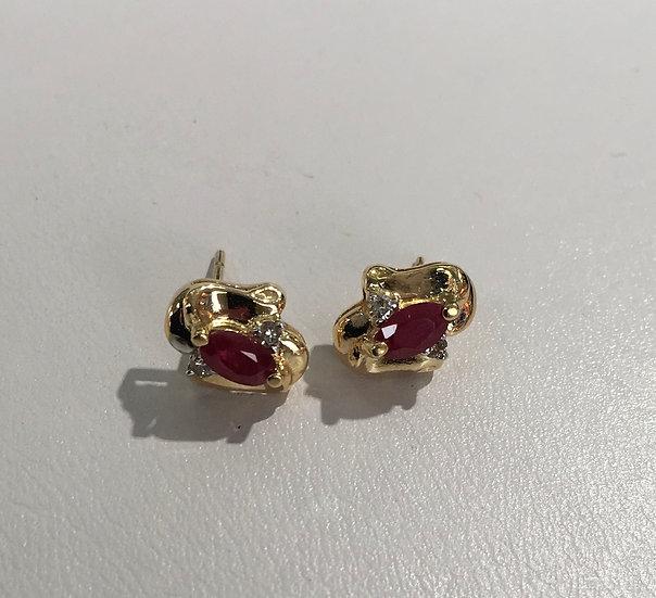 Oval Ruby Stud Style 14k Yellow Gold Gemstone Earrings w/ Diamonds