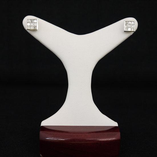 14k White Gold Invisible Setting Princess Cut Square 1 Ct. Diamond Stud Earrings