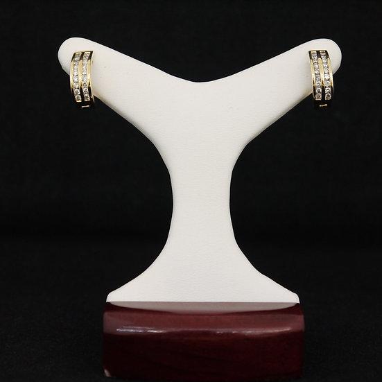 14k Yellow Gold Double Row Channel Set Diamond Huggie Earrings w/ Leverback