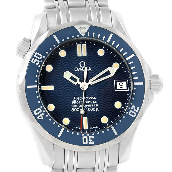 Omega Ladies Seamaster 27mm Stainless Steel Blue Wave Diver Watch LV645