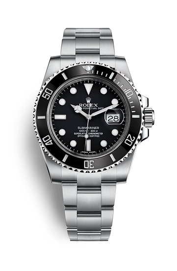 Rolex ♛ Submariner Date Mens Luxury Watch, Stainless Steel, Black Face, 116610LN