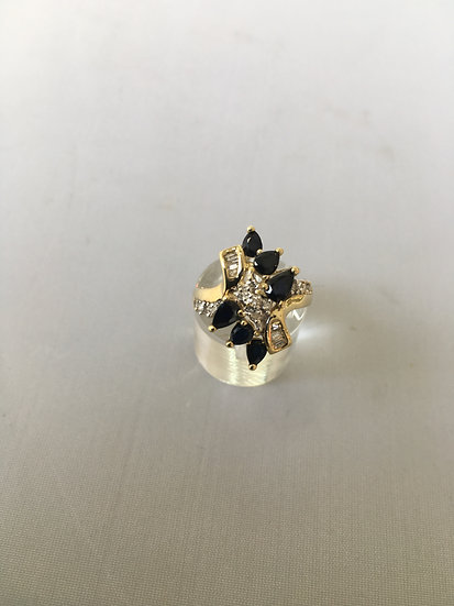 Gemstone Cocktail Ring w/ Diamonds & 6 Pear Shaped Sapphires in Yellow Gold