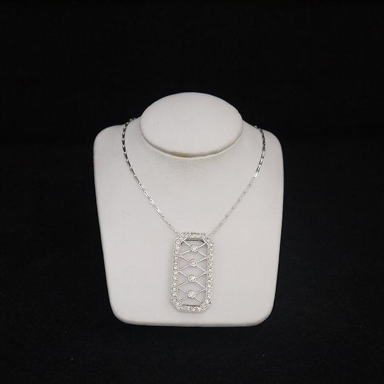 14k White Gold Dog Tag Pendant w/ Bezel & Bead Set Diamonds (w/ FREE Box Chain!)