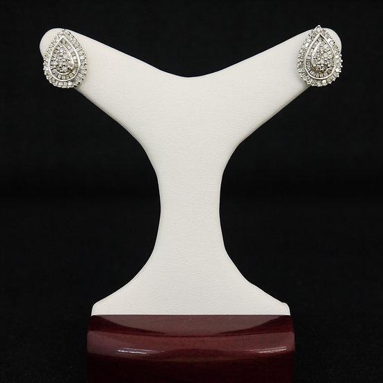 14k White Gold Pear/Teardrop Shaped Cluster Round & Baguette Diamond Earrings
