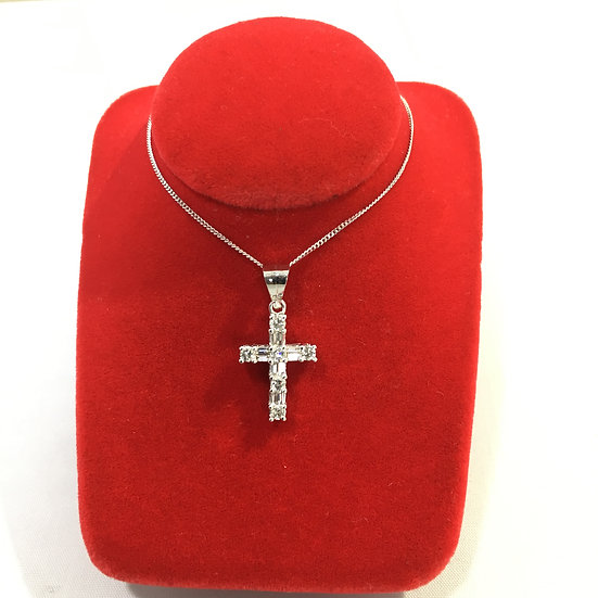 14k White Gold Cross Pendant w/ Round & Baguette Diamonds *COMES w/ FREE CHAIN!*