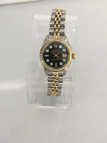 Rolex ♛ Ladies Datejust 26mm YG/SS Black Diamond Fluted Jubilee 179313