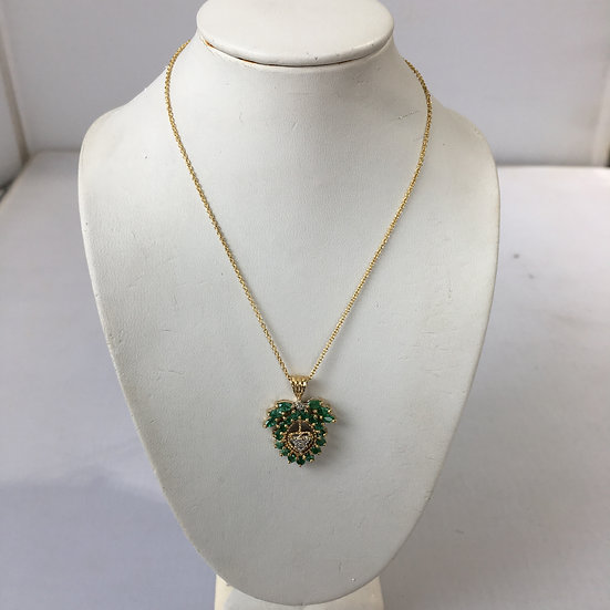 Floral Design w/ Diamond Heart Emeralds Gemstone Yellow Gold Pendant & Necklace