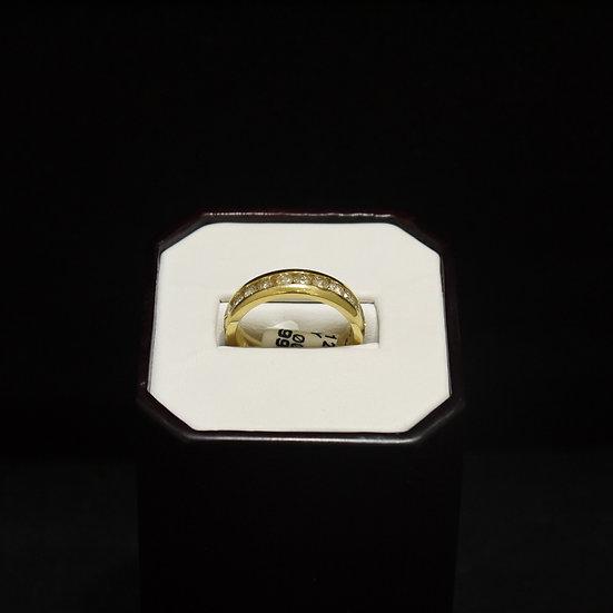Thick Unisex 14k Yellow Gold Band w/ 14 Channel Set Diamonds