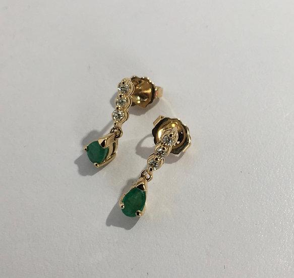 Pear Shaped Emerald w/ Diamonds Dangle Style 14k Yellow Gold Gemstone Earrings