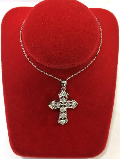 """1"""" 14k White Gold Filigree Cross Pendant w/ Diamonds *COMES W/ FREE 18"""" CHAIN*"""