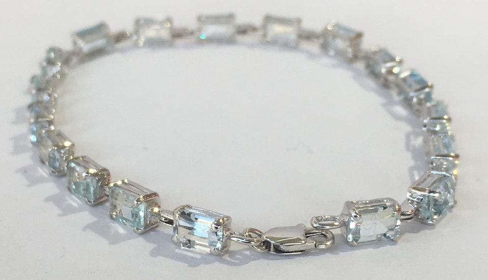 """Emerald Cut Aquamarine 7"""" Tennis Bracelet w/ Lobster Clasp in 14k White Gold"""