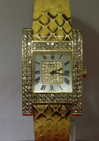 Chopard H 18k Yellow Gold/Snake Skin Leather Champagne Diamond Studded Watch
