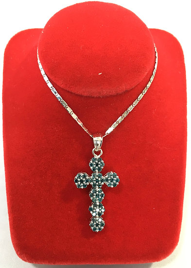 White Gold Cross Pendant w/ Blue Diamonds in Floral Design *COMES w/ FREE CHAIN*