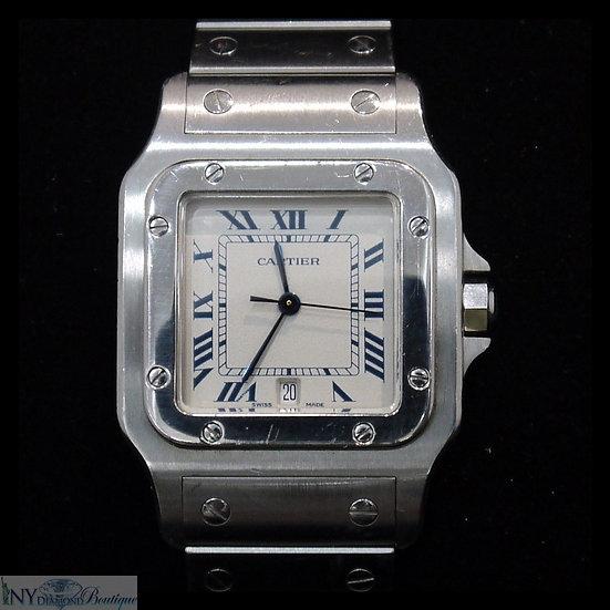 Cartier Santos 987901 Stainless Steel White Dial w/ Roman Numerals Quartz Watch