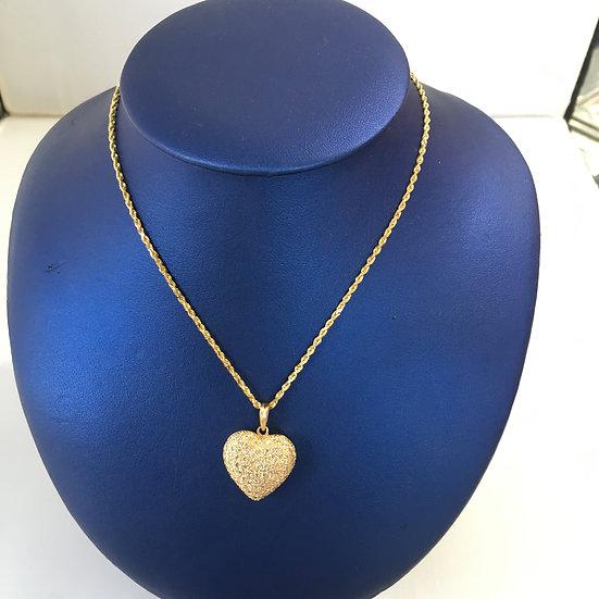 Puff Style Solid Pavé Heart Leaf Design set w/ Diamonds 14k Yellow Gold Pendant