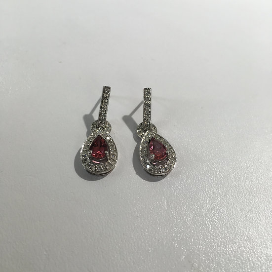 Pink Topaz w/ Diamonds Gemstone Dangle/Drop Style White Gold Earrings