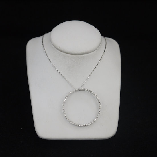 14k White Gold Diamond Studded Large Endless Circle Pendant (w/ FREE Box Chain!)