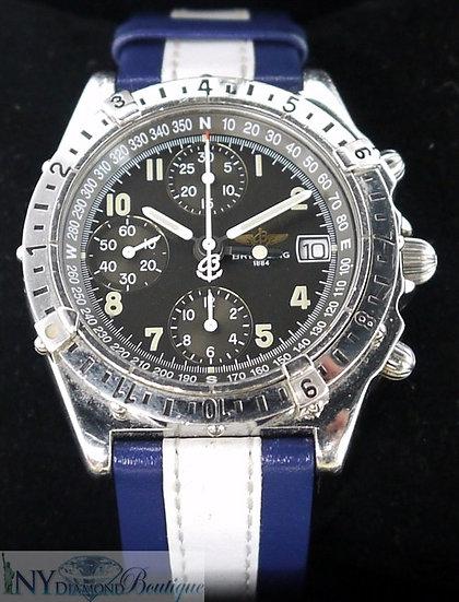 Breitling Chronomat Longitude Stainless Steel Black Dial Navy Blue/White Leather