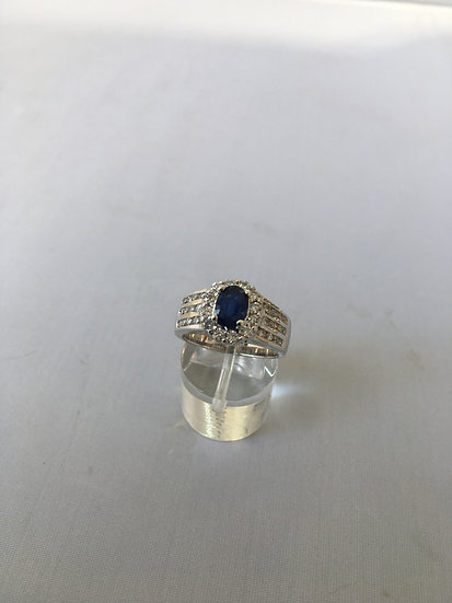 Oval Blue Sapphire Gemstone Surrounded by 24 Diamonds in 14k White Gold Ring