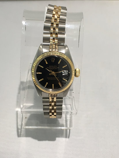 Rolex ♛ Oyster Perpetual Datejust 79173 26mm 18k YG/SS Black Dial Womens Watch