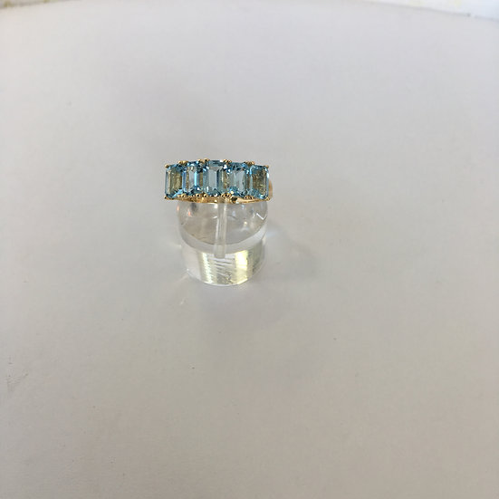 Five Stone Emerald Cut Topaz 14k Yellow Gold Band Style Gemstone Ring