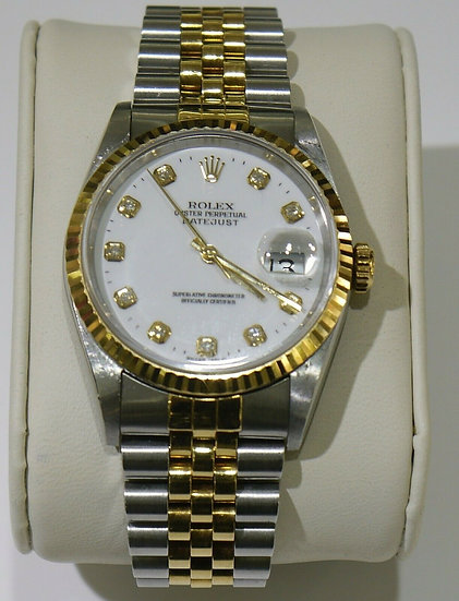 Rolex ♛ Datejust Two-Tone 36mm White Diamond Dial Fluted Bezel Mens Watch