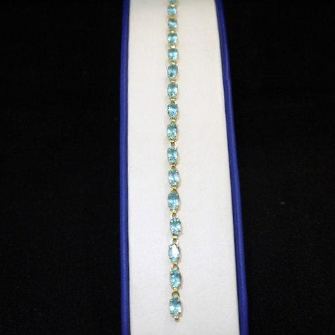 "Blue Topaz 6.5"" Gemstone Bracelet w/ Lobster Clasp in 14k Yellow Gold"