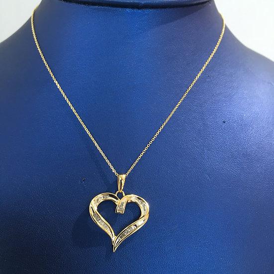 Open Heart Yellow Gold Pendant w/ White Diamond Baguettes (W/ FREE YG BOX CHAIN)