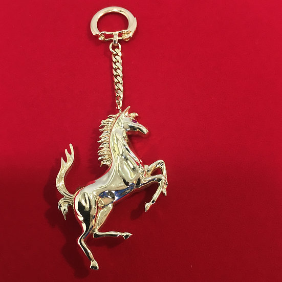 Ferrari Keychain/Pendant Half 14k White/Yellow Gold w/ Pink & Blue Diamond 53g