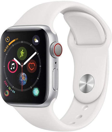 Apple Watch Series 4 44mm Silver Aluminum w/ White Sport Band