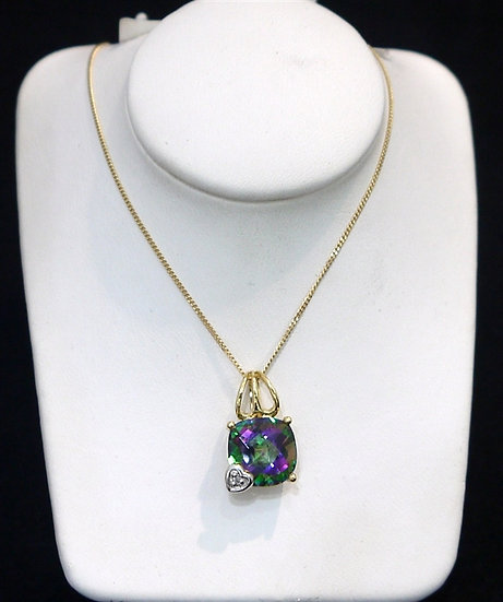 Checkered Board Mystic Topaz Gemstone w/ Heart & Diamond 14k Yellow Gold Pendant