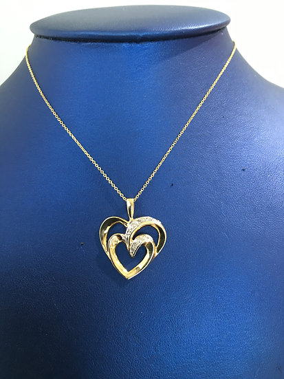 Double Heart w/ One Side of Diamonds Yellow Gold Pendant (W/ FREE YG BOX CHAIN)