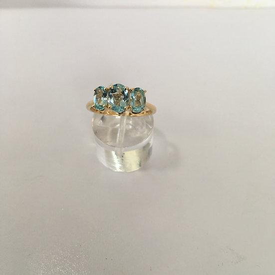 Past Present & Future Oval Swiss Topaz 14k Yellow Gold Gemstone Ring