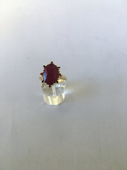Bold Red Ruby Stone Surrounded by Small Sapphires Yellow Gold Gemstone Ring