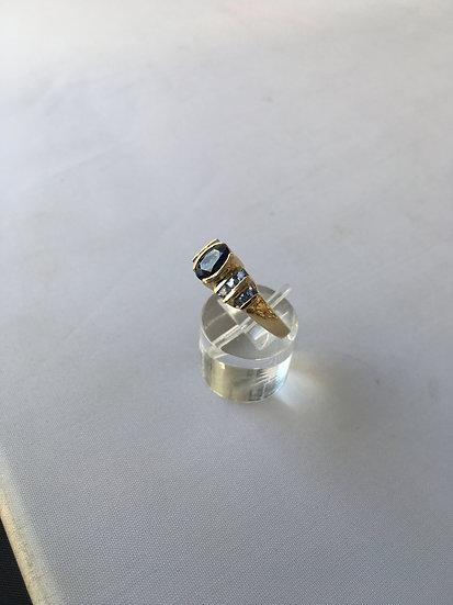 Dual Shape Blue Sapphire & Tanzanite Gemstone Yellow Gold Ring