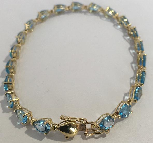 "Blue Topaz 7"" Bracelet w/ Pear Shaped Gemstones & Box Clasp in 10k Yellow Gold"