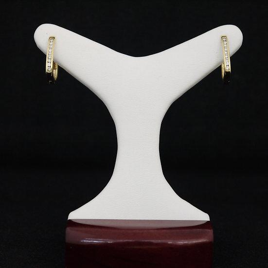 14k Yellow Gold Hoop Style Channel Set Diamond Earrings w/ Huggies Fastening